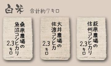 新潟コシヒカリ魚沼・佐渡・信州